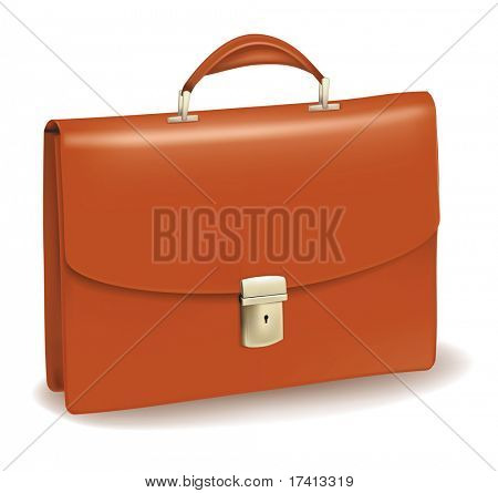 Business brown briefcase. Photo-realistic vector. poster