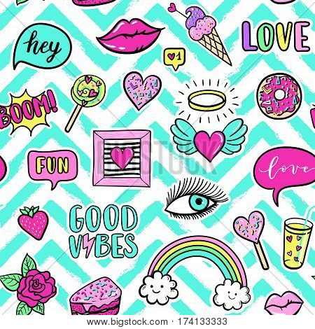 Vector seamless pattern with fashion fun patches: eyes lip star strawberry Good vibes speech bubble on stripe background. Pop art stickers patches pins badges 80s-90s style