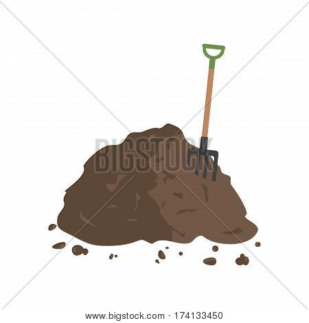 Organic fertilizer. Pile of ground, manure or compost with hayfork. Vector illustration flat design