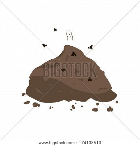 Manure and flies icon. Vector illustration flat design