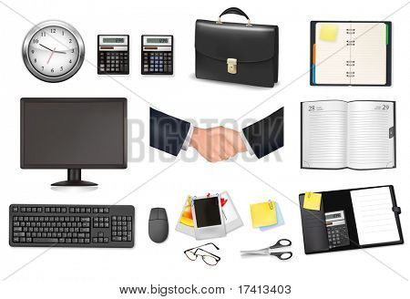 A briefcase, clock, calculators, notebooks and some office and business supplies. Vector.