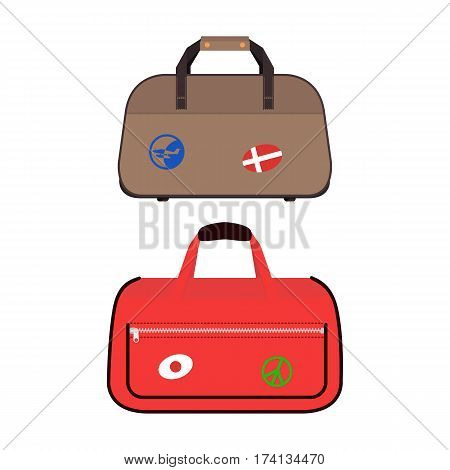 Travel tourism fashion baggage or luggage vacation handle leather big packing briefcase and voyage destination case bag on wheels vector illustration. Journey suitcase departure symbol.