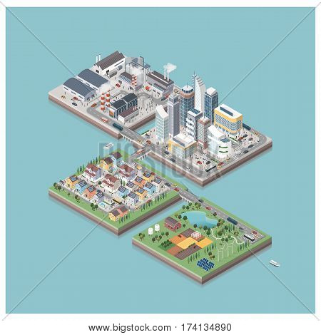 Vector isometric contemporary eco city isles with buildings factories people and streets: commercial area residential district industrial park farm and natural area