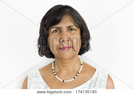 Lonely Senior Adult Woman Sad Boredom Expression Concept