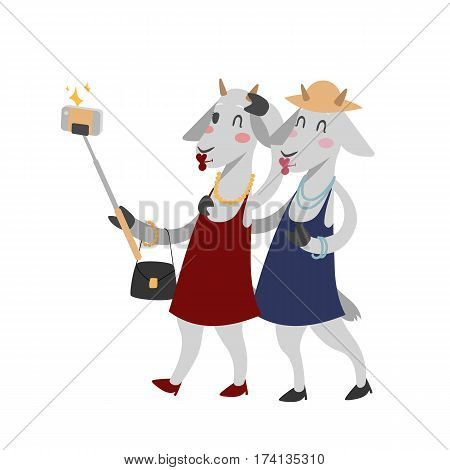 Funny picture goats photographer mamal person take selfie stick in his hand and cute animal taking a selfie together with smartphone camera vector illustration. Camera photo pet character.