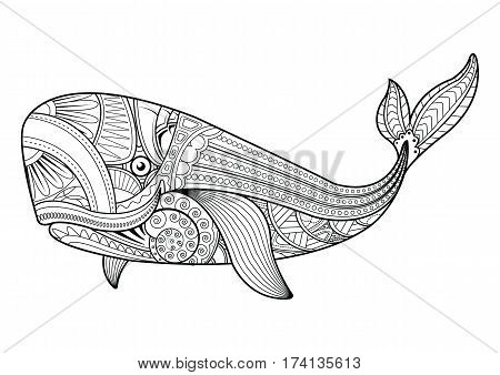 Zentangle vector Whale for adult anti stress coloring pages. Ornamental tribal patterned illustration for tattoo poster or print. Hand drawn monochrome sketch. Sea animal collection.