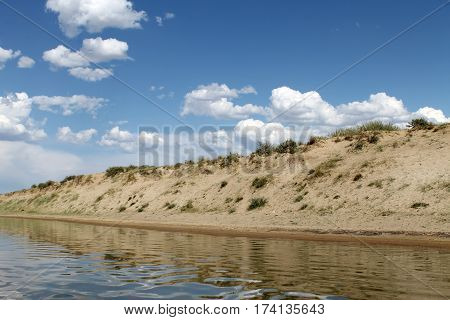 deserted beach lake, summer sky, nature blue cloud, Tuva, the sky reflected in the water