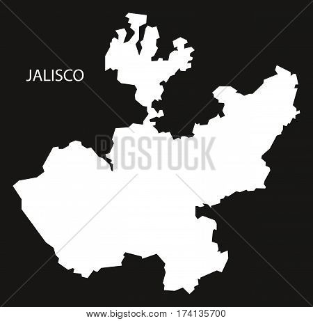 Jalisco Mexico Map black inverted silhouette illustration