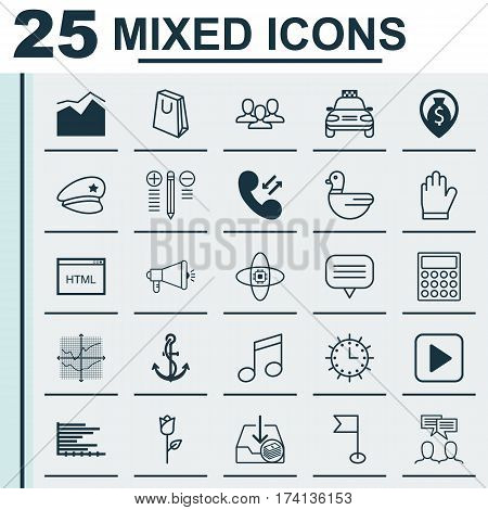 Set Of 25 Universal Editable Icons. Can Be Used For Web, Mobile And App Design. Includes Elements Such As Broken Lines Chart, Crotchets, Decision Making And More.