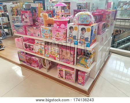 CHIANG RAI THAILAND - MARCH 1 : Department store interior view with female toys at Central Plaza department store on March 1 2017 in Chiang rai Thailand