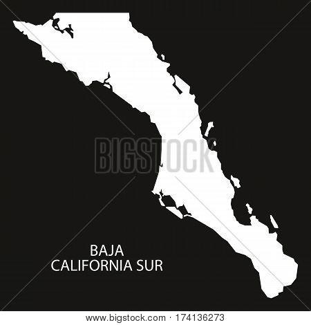 Baja California Sur Mexico Map black inverted silhouette