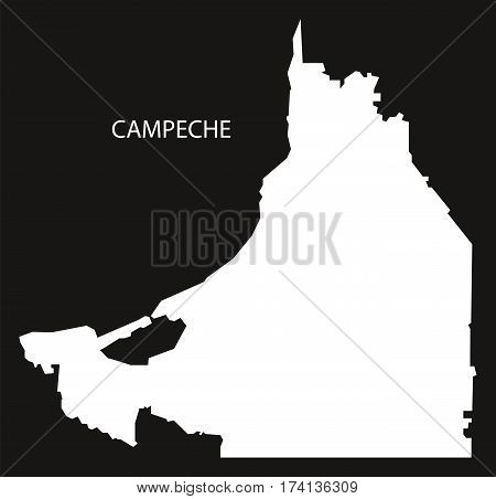 Campeche Mexico Map black inverted silhouette illustration