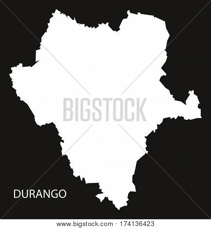 Durango Mexico Map black inverted silhouette illustration