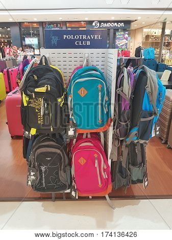 CHIANG RAI THAILAND - MARCH 1 : Department store interior view with suitcase zone at Central Plaza department store on March 1 2017 in Chiang rai Thailand