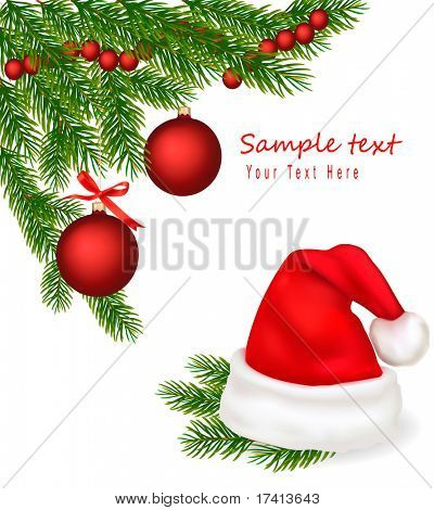 Santa hat and tree branches with red bows . Vector.