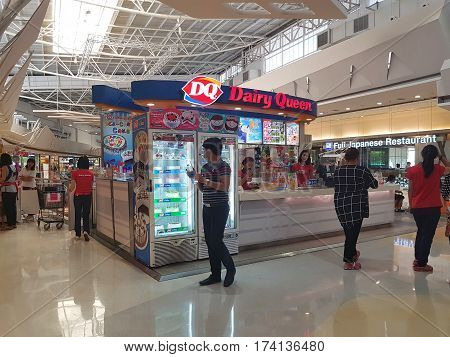 CHIANG RAI THAILAND - MARCH 1 : Department store interior view with Dairy Queen shop at Central Plaza department store on March 1 2017 in Chiang rai Thailand