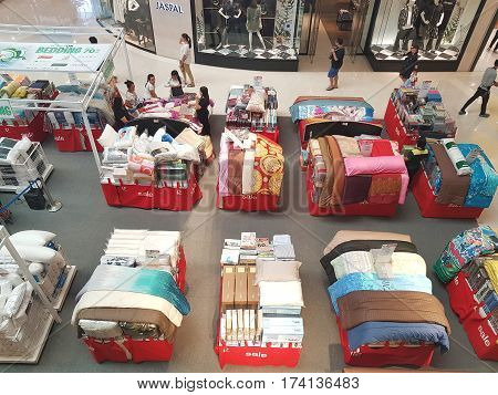 CHIANG RAI THAILAND - MARCH 1 : Department store interior view with bedding zone at Central Plaza department store on March 1 2017 in Chiang rai Thailand