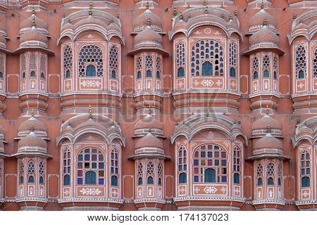 JAIPUR, INDIA - FEBRUARY 16 : Hawa Mahal, Winds Palace in Jaipur, Rajasthan, India. Jaipur is the capital and the largest city of Rajasthan on February, 16, 2016.