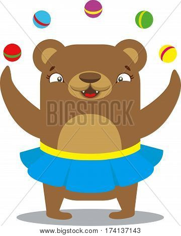 Circus Bear In Skirt Juggling Balls. Circus Concept. Flat Cartoon Vector Illustration