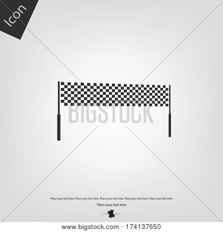 Chequered race flag icon, gray background. Vector illustration.