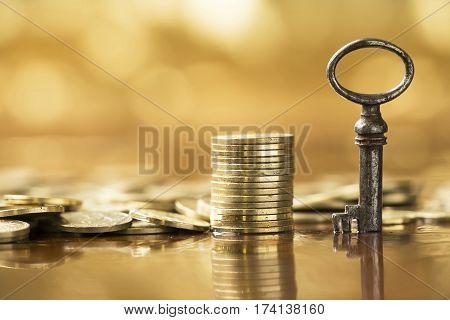 Business success concept - golden money coins banner
