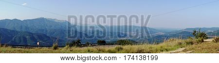 Panoramic at Long Tom Pass, landscape at the Panorama  Route in Mpumalanga province, South Africa; view of mountains and valleys, endless forests, blue sky