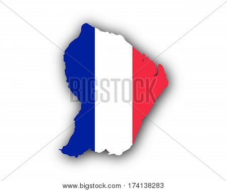 Map And Flag Of French Guiana