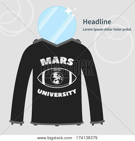 Vector illustration of Mars university uniform. Image of spacesuit with imaginary symbol.