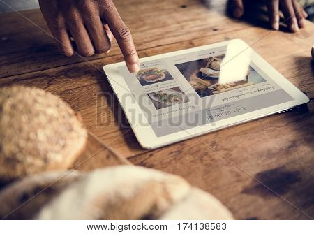 People Hands Using Digital Tablet