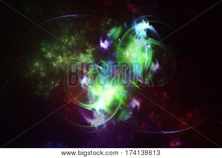 Abstract space fractal with colorful plasma, on dark background