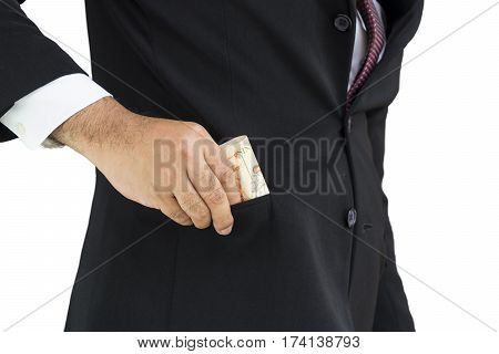 scene of businessman pull money from his pocket suit on isolate background - can use to display or montage on product