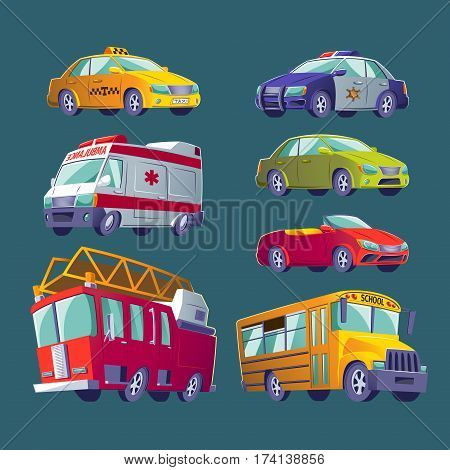 Vector Cartoon collection of isolated icons of urban transport. Fire truck, ambulance, police car, school bus, taxi, private cars.