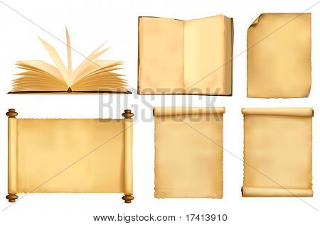 Set of old paper sheets and book. Vector.