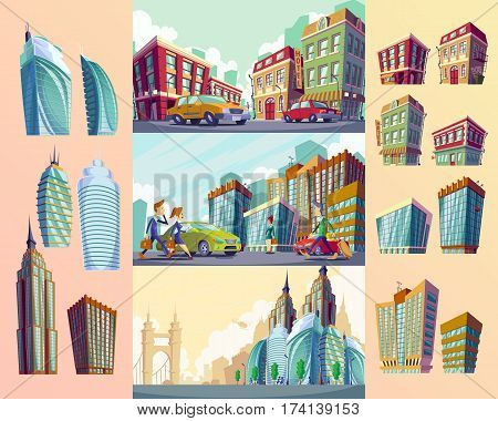 Set vector cartoon illustrations of an quarter with old buildings, urban landscape with large modern buildings, cars and urban residents. The concept of urban life.