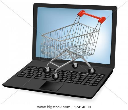 Vector illustration of a shopping art over a laptop.