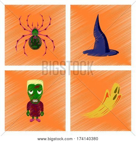 assembly flat shading style icon of spider witch hat monster ghost