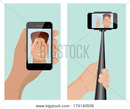 Taking a self portrait with monopod. Self Portrait Tool For Smartphone. For use as logos on cards in printing posters invitations web design and other purposes.