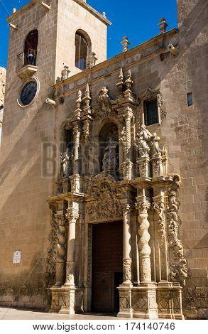Front view of Santa Maria de Elche church in Alicante gothic architecture of 14th century San Roque district Costa blanca