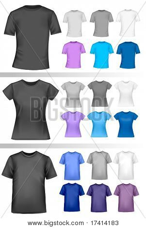 Black and white male and female polo shirts. Photo-realistic vector illustration