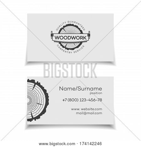 Card for woodwork master. Wood work and manufacture card for your business. Vector illustration