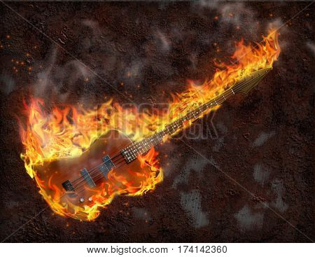 Flaming Bass Guitar against rusted metal background   3D Render