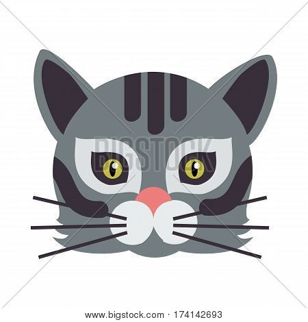 Cat animal carnival mask vector illustration in flat style. Wild or home feline mammal. Funny childish masquerade mask isolated on white. New Year masque for festivals, holiday dress code for kids