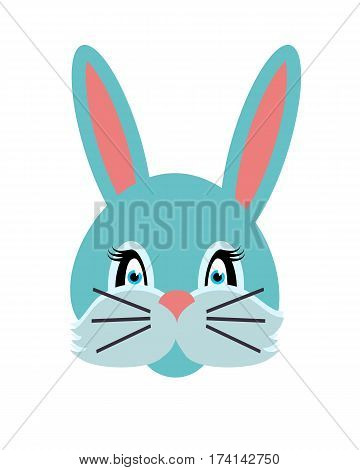Rabbit animal carnival vector illustration in flat style. Grey small bunny hare. Funny childish masquerade mask isolated on white. New Year masque for festivals, holiday dress code for kids