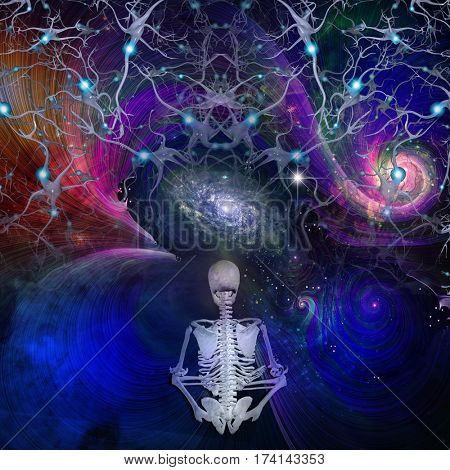 Skeletal figure meditates in cosmos  Some elements provided courtesy of NASA