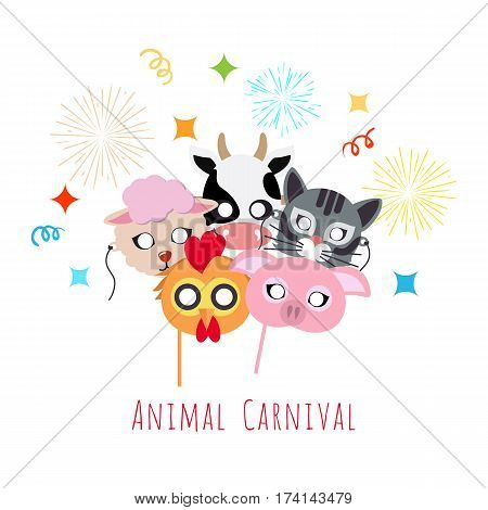 Animal carnival funny childish mascarade masks with firework. Vector illustration of cock with pig, domesticated cow near sheep and cat. Masque for festivals and children holidays. Dress code for kids