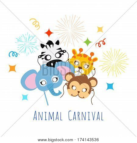 Animal Carnival funny childish masquerade masks with firework. Elephant with zebra, monkey near giraffe vector illustration. Masque for festival and children holiday. Dress code for kids in flat style