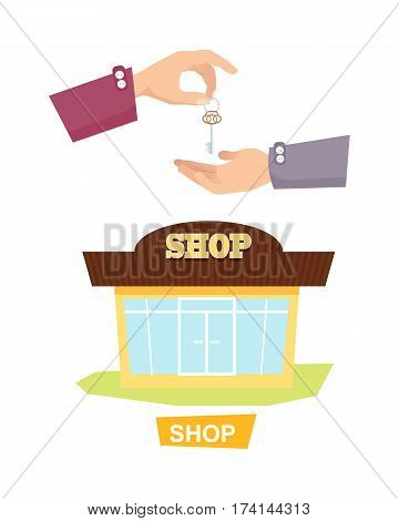 Shop and hand passing key vector in flat style. Process of buying or renting shop. Illustration of giving key and isolated colourful store on white. Agreement trade purchase concept in cartoon design