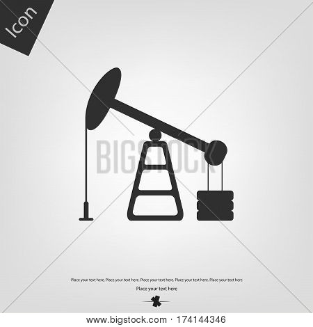 Oil pumpjack icon, gray background. Vector illustration.