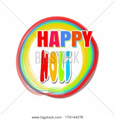 Colorful round banner for the Indian festival of colors with greeting inscription - Happy Holi. Holi lettering card. Vector illustration