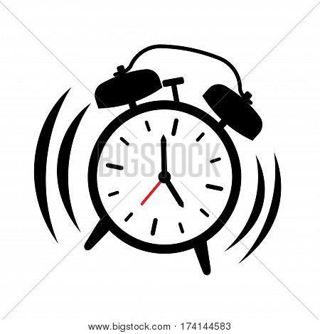 Alarm clock ringing. Wake-up time. vector illustration isolated white background
